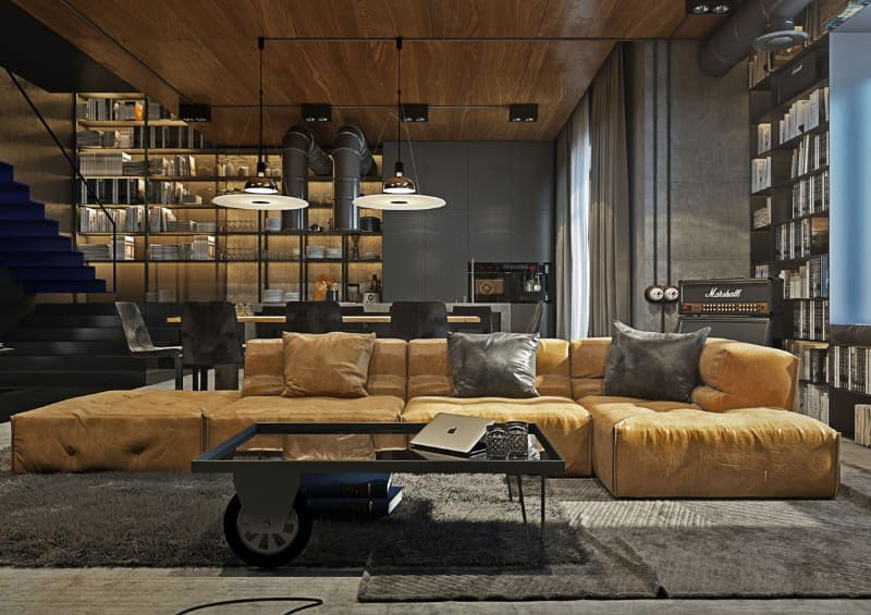 industrial inspired living room