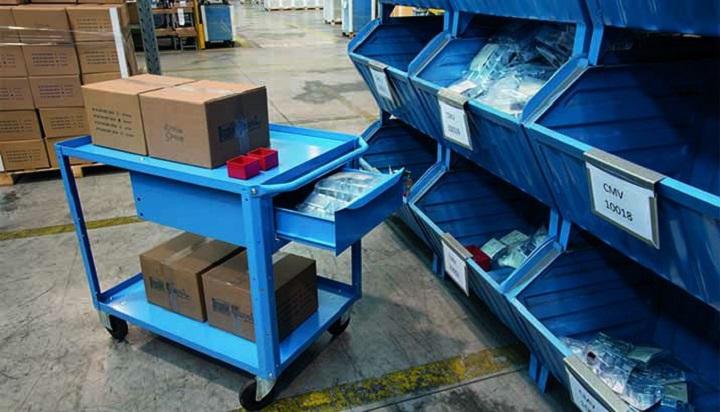 blue 2 shelf trolley