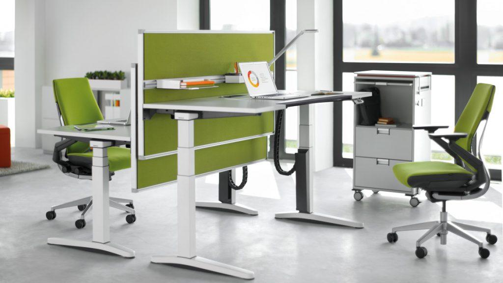 office adjustable computer desk green