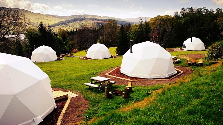white camping dome tents