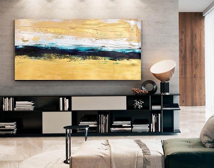 Abstract yellow wall print
