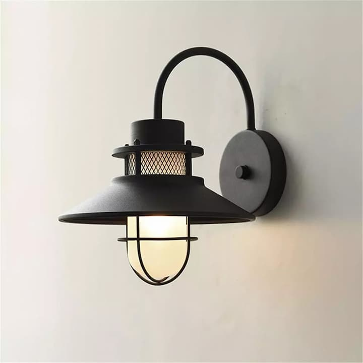 Outdoor Wall Mount Light Fixture Exterior Sconces Lighting Lantern Textured Black Finish with Milky White