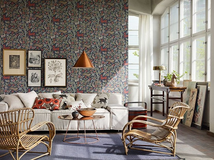 home design with floral walls